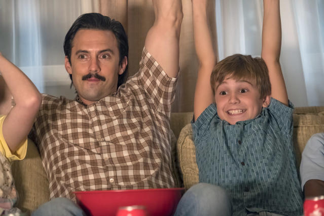 <p>Milo Ventimiglia as Jack and Parker Bates as Kevin in NBC's <i>This Is Us</i>.<br>(Photo: Ron Batzdorff/NBC) </p>