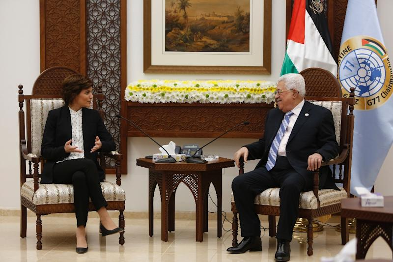 Tamar Zandberg, the head of Israel's Meretz party, speaks with Palestinian president Mahmoud Abbas at his office in the West Bank city of Ramallah on Sunday