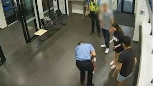 PHOTO: Surveillance footage captures a police sergeant in Perth, Australia, saving a chocking toddler in the lobby of his police station on Christmas Eve, Dec. 24, 2019. (Western Australia Police Force via Facebook)