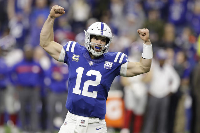"Can <a class=""link rapid-noclick-resp"" href=""/nfl/players/25711/"" data-ylk=""slk:Andrew Luck"">Andrew Luck</a> deliver his <a class=""link rapid-noclick-resp"" href=""/nfl/teams/ind"" data-ylk=""slk:Colts"">Colts</a> into the playoffs? (AP Photo/Darron Cummings)"