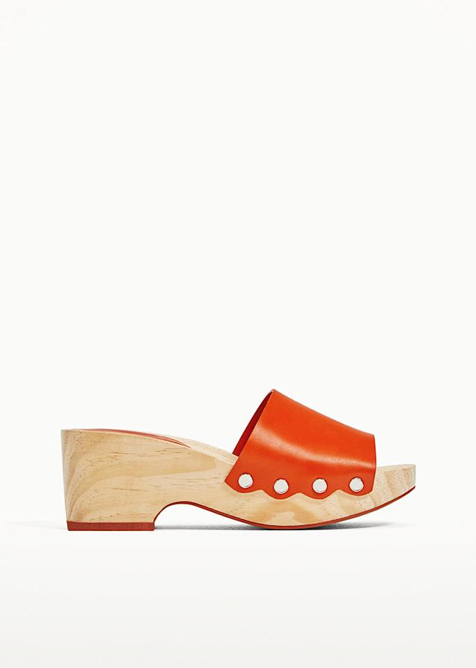 "Wooden Wedge Shoe, $89.90; at <a rel=""nofollow"" href=""https://www.zara.com/us/en/woman/new-in/wooden-wedge-shoe-c401501p4378506.html"" rel="""">Zara</a>"