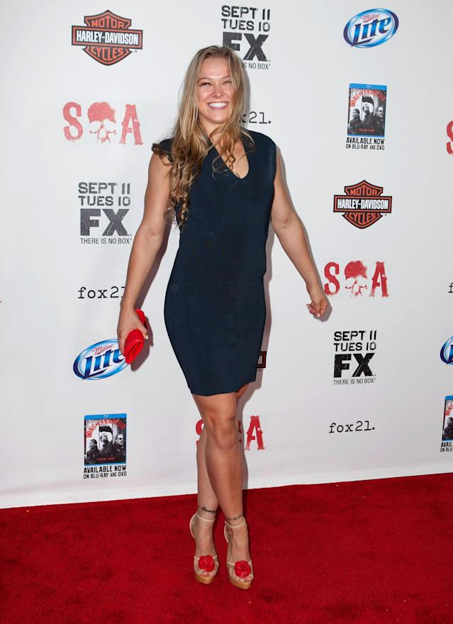 """LOS ANGELES, CA - SEPTEMBER 08: Ronda Rousey arrives for the """"Sons of Anarchy"""" Season Five Premiere Screening at Westwood Village on September 8, 2012 in Los Angeles, California. (Photo by Gabriel Olsen/FilmMagic)"""
