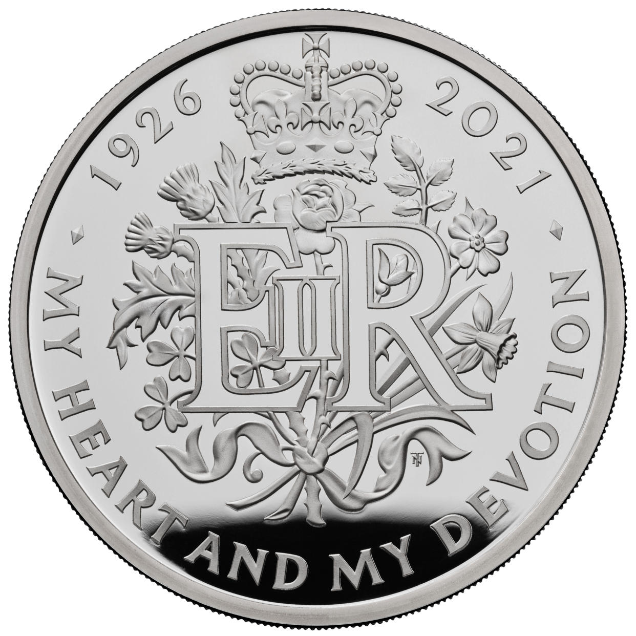 The £5 coin celebrating the 95th birthday of the Queen