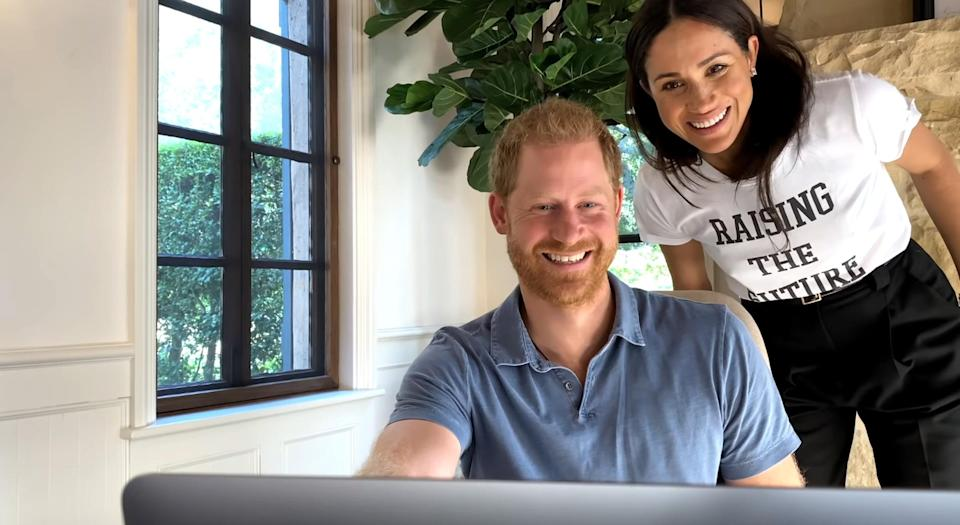 """<p>Speaking from the heart in a trailer for his mental health series <em>The Me You Can't See, </em>which premiered in May on Apple TV+, Harry <a href=""""https://people.com/royals/prince-harry-oprah-winfrey-get-emotional-in-new-trailer-for-mental-health-series/"""" rel=""""nofollow noopener"""" target=""""_blank"""" data-ylk=""""slk:worked on a laptop"""" class=""""link rapid-noclick-resp"""">worked on a laptop</a> while Meghan made a cameo over his shoulder.</p>"""