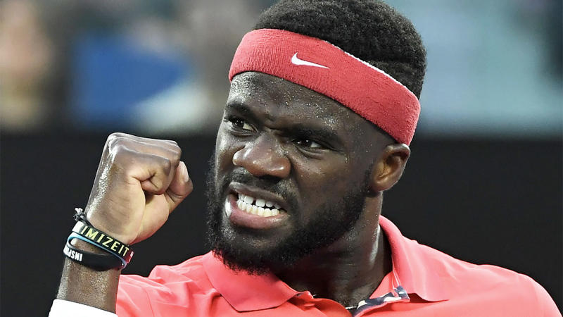 Francis Tiafoe celebrates a point.