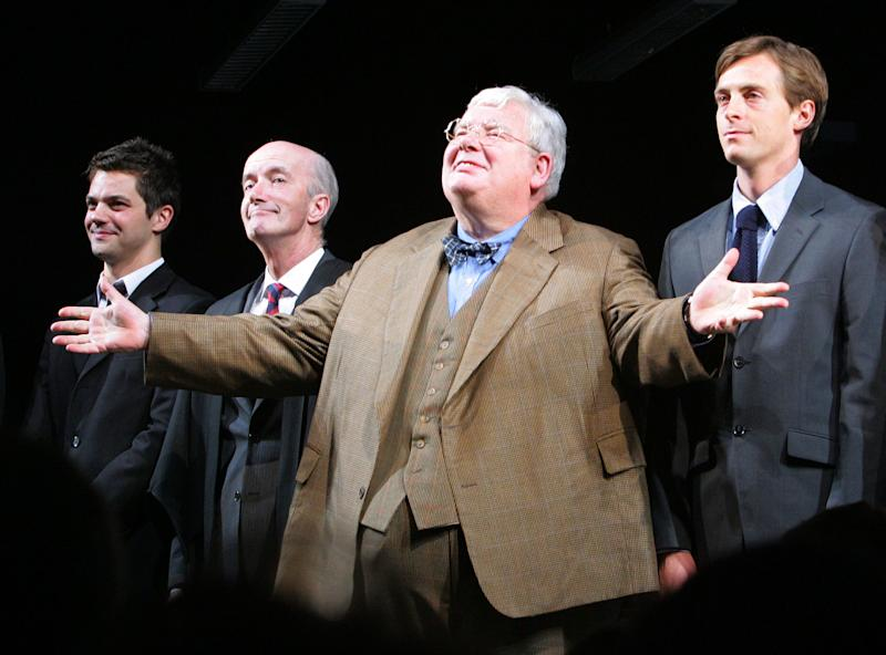 "FILE - From left, actors James Corden, Clive Merrison, Richard Griffiths and Stephen Campbell Moore take the curtain call at the opening night of the play The History Boys, in this Sunday, April 23, 2006 file photo in New York. Griffiths, the British actor who played the boy wizard's unsympathetic Uncle Vernon in the ""Harry Potter"" movies, has died . He was 65. (AP Photo/Dima Gavrysh, file)"
