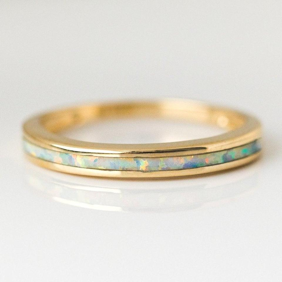 """<br><br><strong>Amarilo Jewelry</strong> White Opal Inlay Ring in Gold, $, available at <a href=""""https://go.skimresources.com/?id=30283X879131&url=https%3A%2F%2Fwww.localeclectic.com%2Fcollections%2Ffine-jewelry%2Fproducts%2Fwhite-opal-inlay-ring-in-gold%3Fvariant%3D21129162096718"""" rel=""""nofollow noopener"""" target=""""_blank"""" data-ylk=""""slk:Local Eclectic"""" class=""""link rapid-noclick-resp"""">Local Eclectic</a>"""