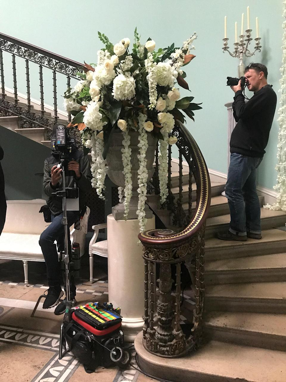 """Setting up for the Ingenue Ball in episode three, which has """"an ethereal and heavenly look."""""""