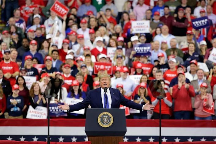 President Donald Trump speaks during a rally on January 14, 2020 at UWMilwaukee Panther Arena in Milwaukee, Wisconsin. Trump, who is the third president in history to be impeached, now faces trial by the Senate.