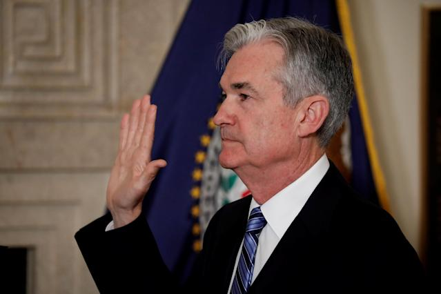 Fed Chairman Jerome Powell takes the oath of office in Washington, U.S., February 5, 2018. REUTERS/Aaron P. Bernstein