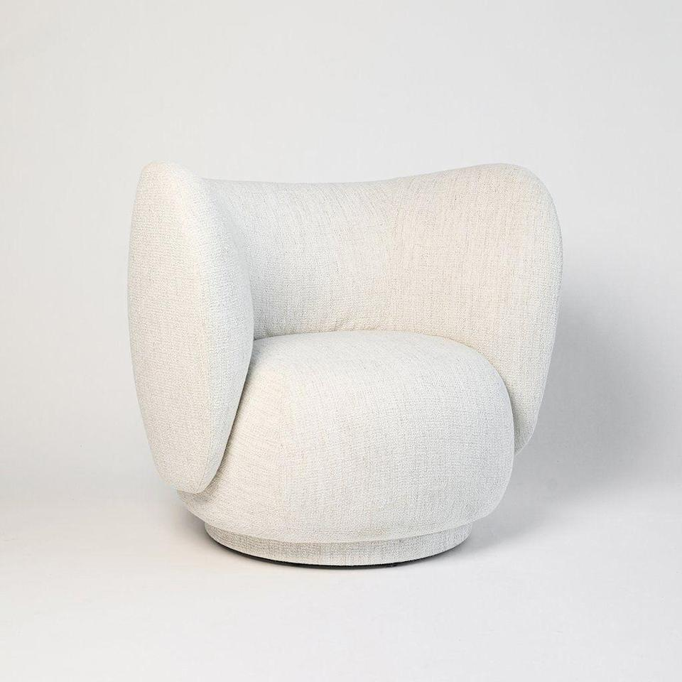 """<p><strong>Ferm Living</strong></p><p>nannieinez.com</p><p><strong>$2599.00</strong></p><p><a href=""""https://www.nannieinez.com/collections/ferm-living/products/ferm-living-rico-lounge-chair?variant=29188838686819"""" rel=""""nofollow noopener"""" target=""""_blank"""" data-ylk=""""slk:Shop Now"""" class=""""link rapid-noclick-resp"""">Shop Now</a></p><p>An enticing bouclé fabric woven from uneven yarn creates a textural surface that begs to be touched.</p>"""