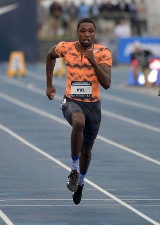 Jun 21, 2018; Des Moines, IA, USA; Noah Lyles wins a 100m heat in 9.92 during the USA Championships at Drake Stadium. Kirby Lee-USA TODAY Sports