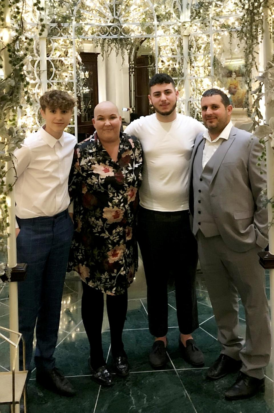 Heather Bone with her family, (L-R: Lewis, Heather, Marcus & Daniel). (SWNS)