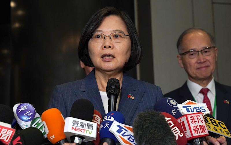 Taiwan's President Tsai Ing-wen () and USTBC chairman/NASDAQ president Michael Splinter (unseen) speak with the press before they attend a Taiwan-US business summit organised by USTBC and Taiwan's trade organisation TAITRA in midtown New York on July 12, 2019. - Tsai is spending two days in New York ahead of a visit to diplomatic allies in the Caribbean. (Photo by TIMOTHY A. CLARY / AFP) (Photo credit should read TIMOTHY A. CLARY/AFP/Getty Images)