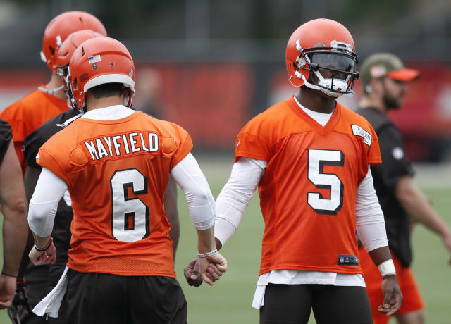 "The Cleveland Browns presented a united front Wednesday that Tyrod Taylor is their starter and Baker Mayfield won't get ""bunch of first-team reps."" (AP)"