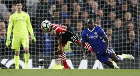 Britain Football Soccer - Chelsea v Southampton - Premier League - Stamford Bridge - 25/4/17 Chelsea's Victor Moses in action with Southampton's Ryan Bertrand Reuters / Stefan Wermuth Livepic