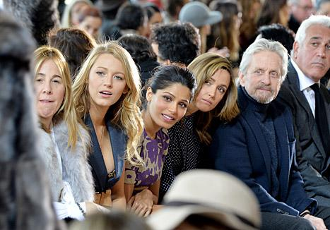 Blake Lively attended the Michael Kors show during Mercedes-Benz Fashion Week in New York on Feb. 12 and sat with Freida Pinto, Rose Byrne, and Michael Douglas