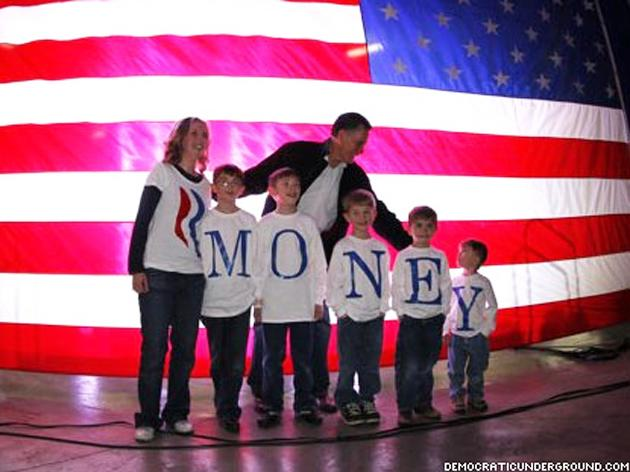 A doctored image of an AP photo pokes fun at Mitt Romney's wealth.