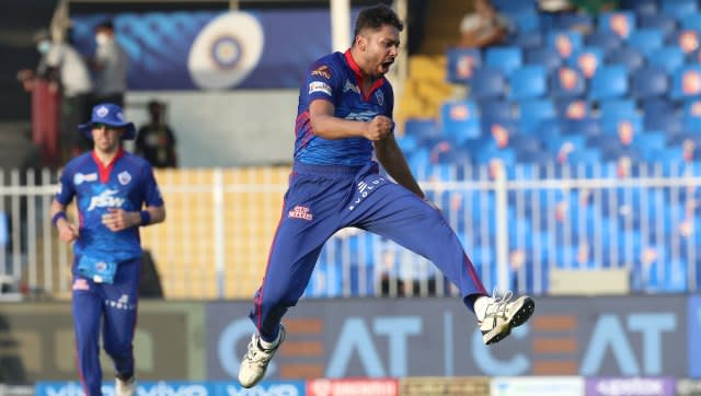 Avesh Khan of Delhi Capitals celebrates the wicket of Dinesh Karthik of Kolkata Knight Riders during match 41 of the Vivo Indian Premier League between the KOLKATA KNIGHT RIDERS and the DELHI CAPITALS held at the Sharjah Cricket Stadium, Sharjah in the United Arab Emirates on the 28th September 2021 Photo by Deepak Malik / Sportzpics for IPL