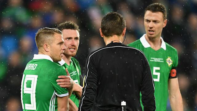 A decision from Romanian referee Ovidiu Hategan helped Switzerland to a 1-0 first-leg win, and the Northern Ireland boss baffled by the call