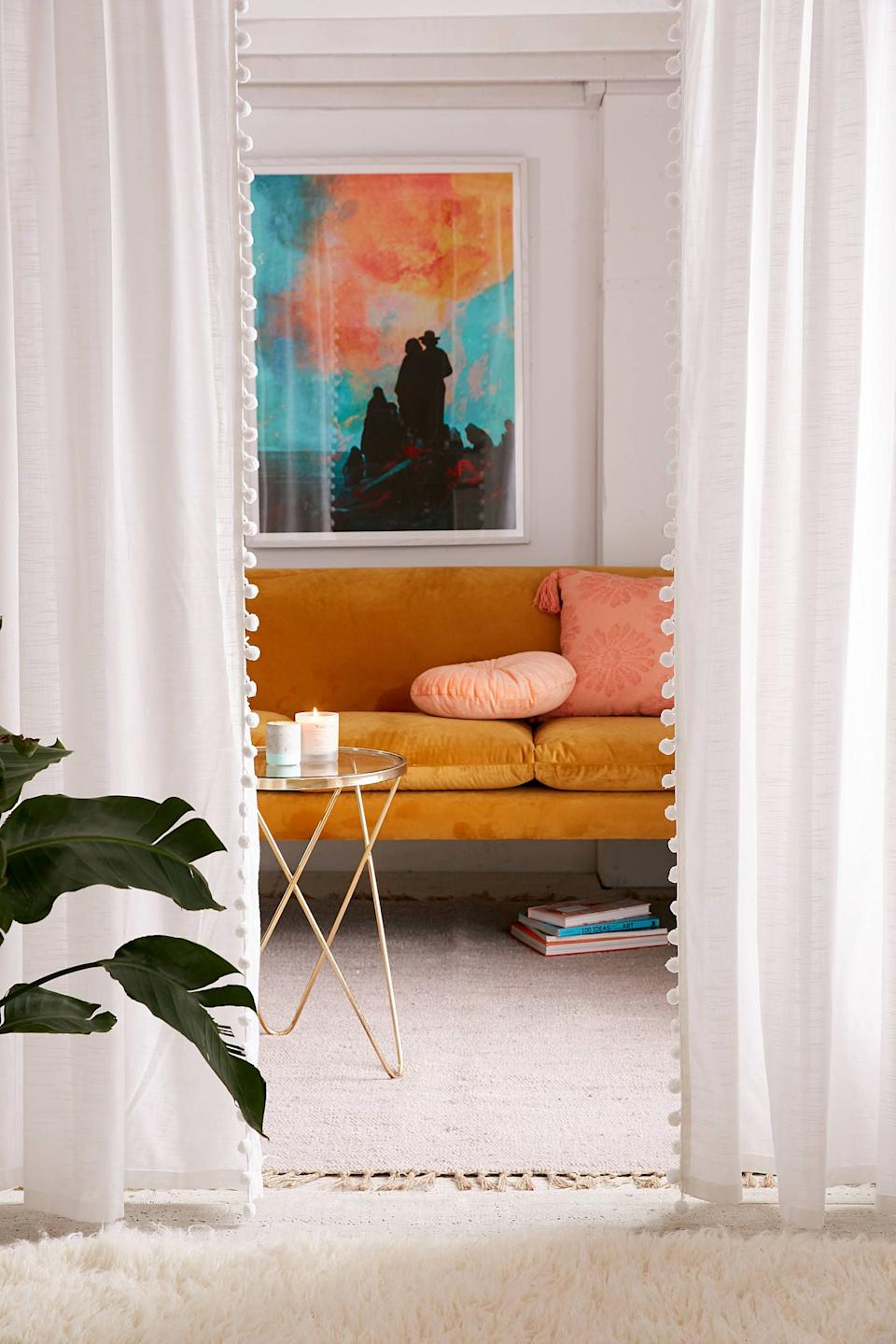 """<h3><a href=""""https://www.urbanoutfitters.com/shop/pompom-curtain"""" rel=""""nofollow noopener"""" target=""""_blank"""" data-ylk=""""slk:Urban Outfitters Pompom Curtain"""" class=""""link rapid-noclick-resp"""">Urban Outfitters Pompom Curtain</a> </h3><p>Fasten a window rod to open door frames or room ceilings and hang a pair of translucent curtains for a breezy room separation solution.</p><br><br><strong>Urban Outfitters</strong> Pompom Curtain, $69, available at <a href=""""https://www.urbanoutfitters.com/shop/pompom-curtain"""" rel=""""nofollow noopener"""" target=""""_blank"""" data-ylk=""""slk:Urban Outfitters"""" class=""""link rapid-noclick-resp"""">Urban Outfitters</a>"""