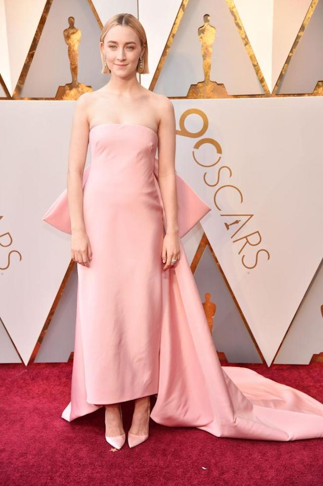 "<p>Best Actress nominee Saoirse Ronan (<i>Ladybird</i>) donned a Calvin Klein gown. Her stylist, Elizabeth Saltzman, told the <a href=""https://www.hollywoodreporter.com/news/saoirse-ronans-2018-oscars-dress-1089901"" rel=""nofollow noopener"" target=""_blank"" data-ylk=""slk:Hollywood Reporter"" class=""link rapid-noclick-resp""><i>Hollywood Reporter</i></a> that the intent was a look that was ""iconic"" and ""memorable."" (Photo: Getty Images) </p>"