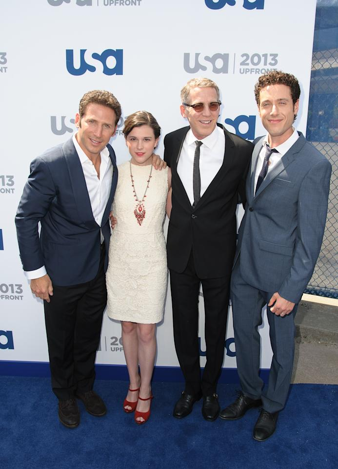 NEW YORK, NY - MAY 16:  Mark Feuerstein, Alexandra Socha, Stephen Spinella and Paulo Costanzo attend  USA Network 2013 Upfront Event at Pier 36 on May 16, 2013 in New York City.  (Photo by Dave Kotinsky/Getty Images)
