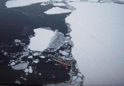 The Russian fishing boat Sparta is shown stranded in the Antarctic
