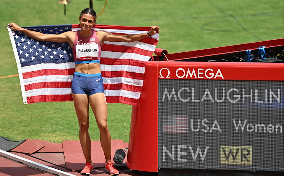 TOKYO, JAPAN - AUGUST 04: Gold medalist Sydney McLaughlin of The USA celebrates after the Women's 400m Hurdles Final during the Tokyo 2020 Olympic Games at Olympic Stadium in Tokyo, Japan on August 04, 2021. (Photo by Mustafa Yalcin/Anadolu Agency via Getty Images)