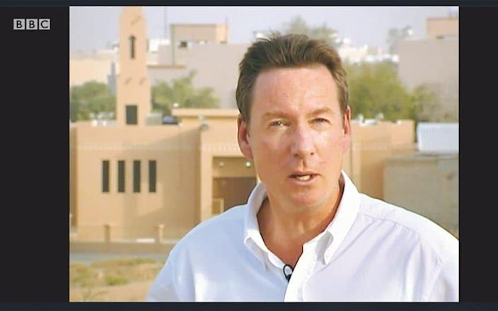 Gardner reporting from Riyadh just before he was shot in 2004 - BBC
