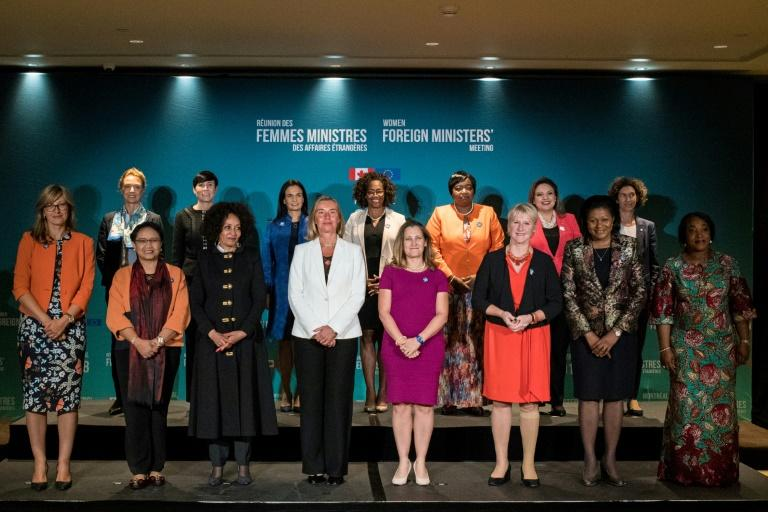 Women foreign ministers pose for a picture during their meeting in Montreal on September 21, 2018