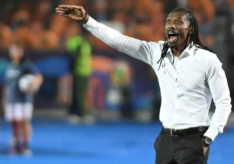 Senegal coach Aliou Cisse barks instructions during the 2019 Africa Cup of Nations final against winners Algeria in Cairo