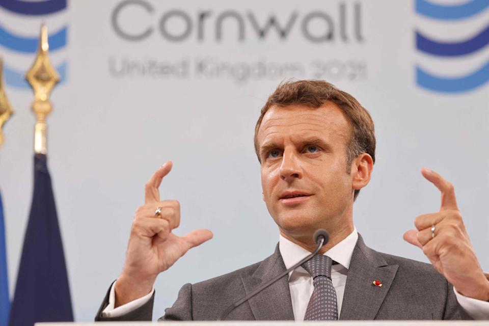 France's President Emmanuel Macron takes part in a press conference on the final day of the G7 summit in Carbis Bay (AFP via Getty Images)