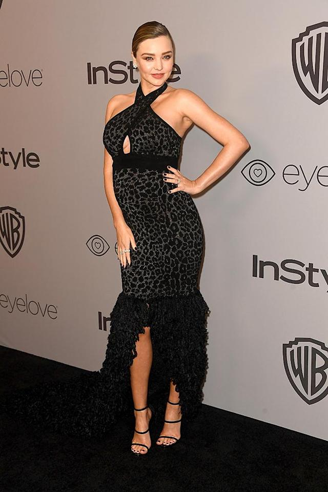 <p>Model Miranda Kerr attends the InStyle and Warner Bros. party at the Beverly Hilton Hotel. (Photo: Frazer Harrison/Getty Images) </p>