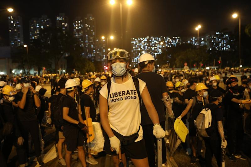 Anti-extradition bill protesters gather during a rally in Shatin, Hong Kong (EPA)