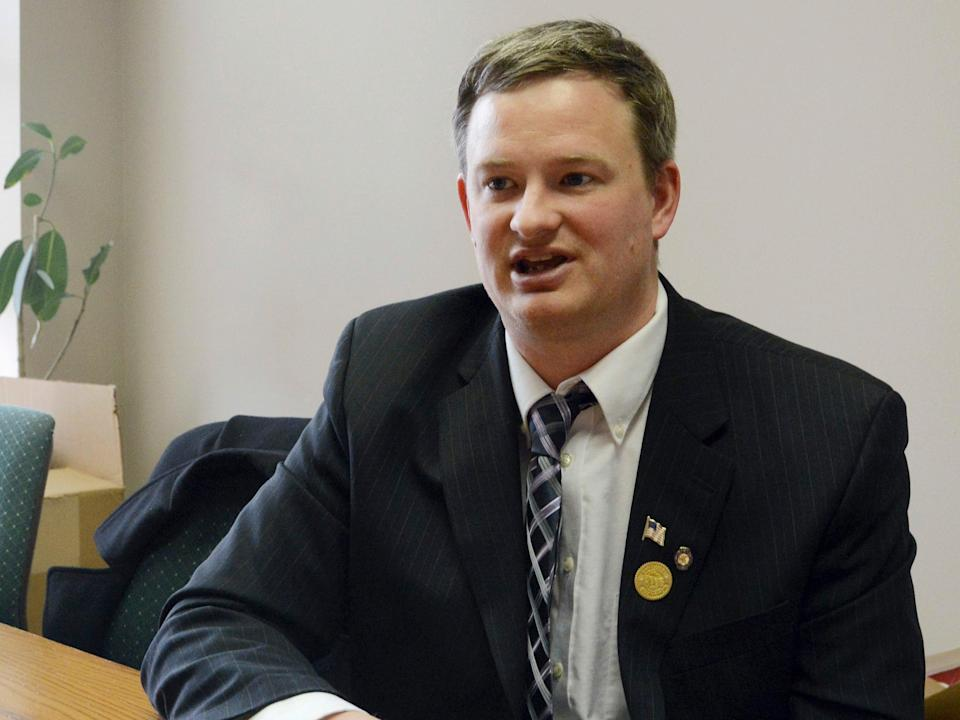 <p>Jason Ravnsborg speaks in Sioux Falls, SD Ravnsborg, South Dakota's Republican attorney general, has been charged with misdemeanour careless driving after he struck and killed a man with his car, authorities said Thursday 18 February 2021</p> ((Associated Press))