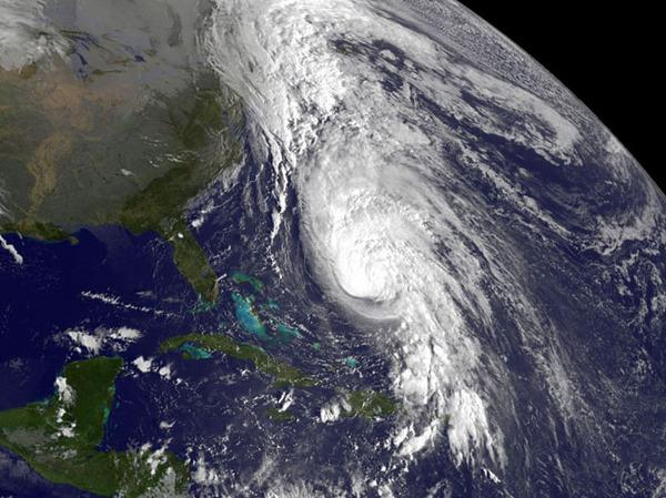 Hurricane Rafael was spotted by NASA's GOES-14 satellite at 7:45 a.m. EDT on Oct. 16, 2012. The bright white clouds mark the strongest storms in the hurricane.