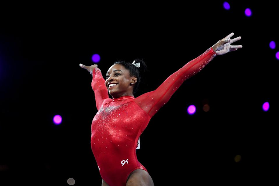 """<p>Simone Biles is <a href=""""https://www.popsugar.com/fitness/how-many-olympic-medals-has-simone-biles-won-47158189"""" class=""""link rapid-noclick-resp"""" rel=""""nofollow noopener"""" target=""""_blank"""" data-ylk=""""slk:a five-time Olympic medalist"""">a five-time Olympic medalist</a> and <a href=""""https://www.popsugar.com/fitness/How-Many-World-Championship-Medals-Has-Simone-Biles-Won-46503573"""" class=""""link rapid-noclick-resp"""" rel=""""nofollow noopener"""" target=""""_blank"""" data-ylk=""""slk:the most decorated gymnast in World Championship history"""">the most decorated gymnast in World Championship history</a> - but with any luck, it's her confidence that will inspire the next generation of athletes. """"It's important to teach our female youth that it's OK to say, '<a href=""""https://www.popsugar.com/fitness/simone-biles-interview-worlds-on-women-celebrating-success-46758371"""" class=""""link rapid-noclick-resp"""" rel=""""nofollow noopener"""" target=""""_blank"""" data-ylk=""""slk:Yes, I am good at this"""">Yes, I am good at this</a>,' and you don't hold back,"""" Biles told <strong>USA Today</strong>, noting that men are praised for carrying that level of confidence, while women are seen as cocky. She added: """"I've won five World titles and if I say, 'I'm the best gymnast there is,' [the reaction is] 'Oh, she's cocky. Look at her now.' No, the facts are literally on paper.""""</p>"""