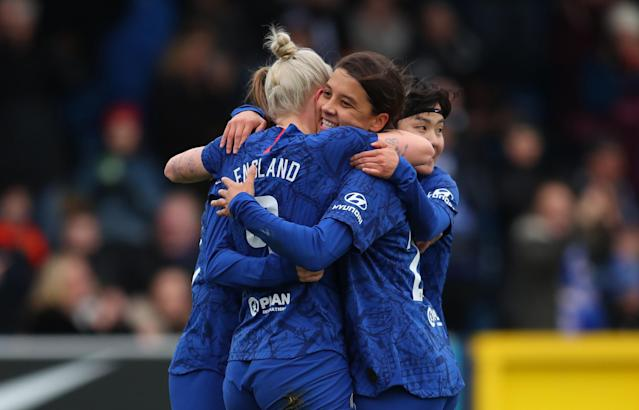 Sam Kerr celebrates with her teammates. Credit: Chelsea Women FC