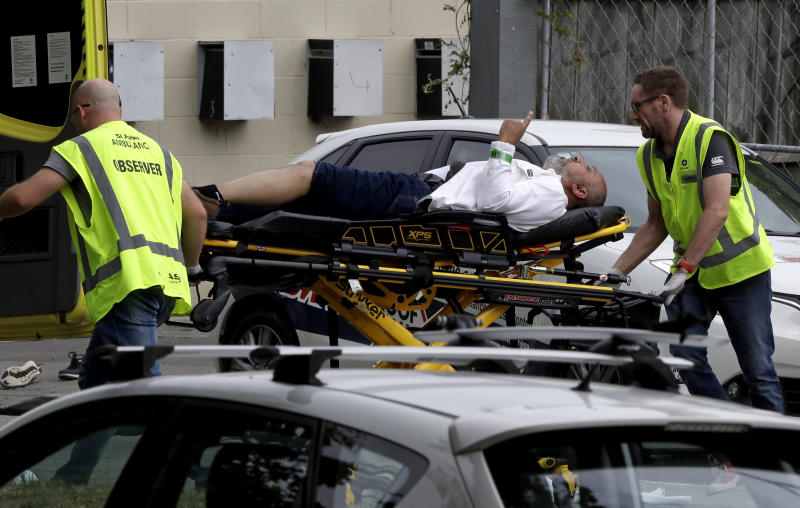 Police responded to mass shootings at mosques in Christchurch, New Zealand on Friday. (Mark Baker/ASSOCIATED PRESS)