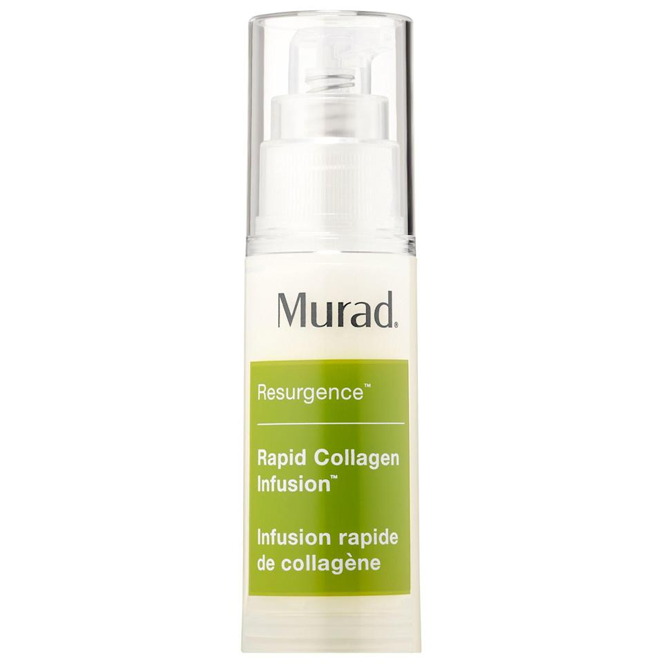 """<p><strong>Murad</strong></p><p>sephora.com</p><p><strong>$79.00</strong></p><p><a href=""""https://go.redirectingat.com?id=74968X1596630&url=https%3A%2F%2Fwww.sephora.com%2Fproduct%2Frapid-collagen-infusion-P377178&sref=https%3A%2F%2Fwww.townandcountrymag.com%2Fstyle%2Fbeauty-products%2Fg33327892%2Fbest-collagen-creams%2F"""" rel=""""nofollow noopener"""" target=""""_blank"""" data-ylk=""""slk:Shop Now"""" class=""""link rapid-noclick-resp"""">Shop Now</a></p><p>Fine lines and wrinkles meet their match with this amino-acid-powered cream, which is bolstered by hydrating hyaluronic acid and rejuvenating peptides. </p>"""