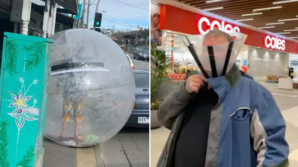 Pictured left is a man in a plastic bubble walking down the street. Pictured right is a man wearing a dog cone while walking into Coles. Source: Reddit/Facebook