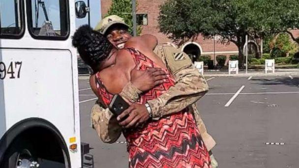 PHOTO: U.S. Army National Guard Sgt. Christopher Williams surprised his mom Joquina Williams at the trolley where she works. (Master Sgt. Meara Brown/Georgia National Guard)