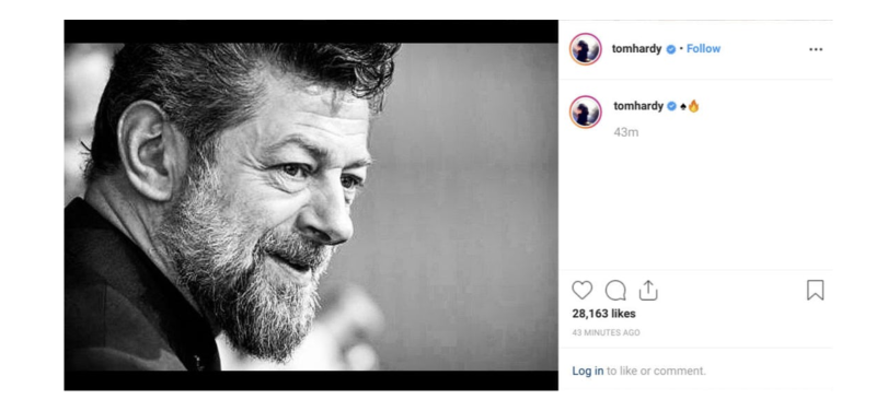 Tom Hardy's Instagram post supporting Andy Serkis (credit: Instagram)