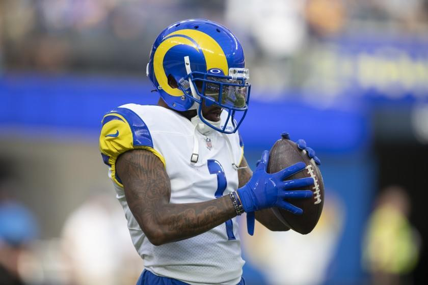 Los Angeles Rams wide receiver DeSean Jackson (1) warms up before an NFL football game against the Chicago Bears Sunday, Sept. 12, 2021, in Inglewood, Calif. (AP Photo/Kyusung Gong)