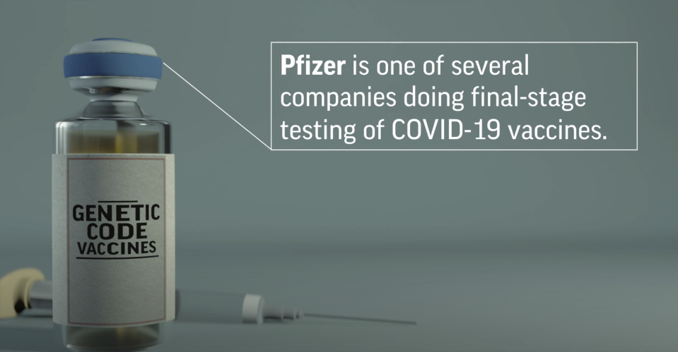 This preview image of an AP animated video explains how Pfizer's genetic vaccine works against COVID-19. (AP Digital Embed)