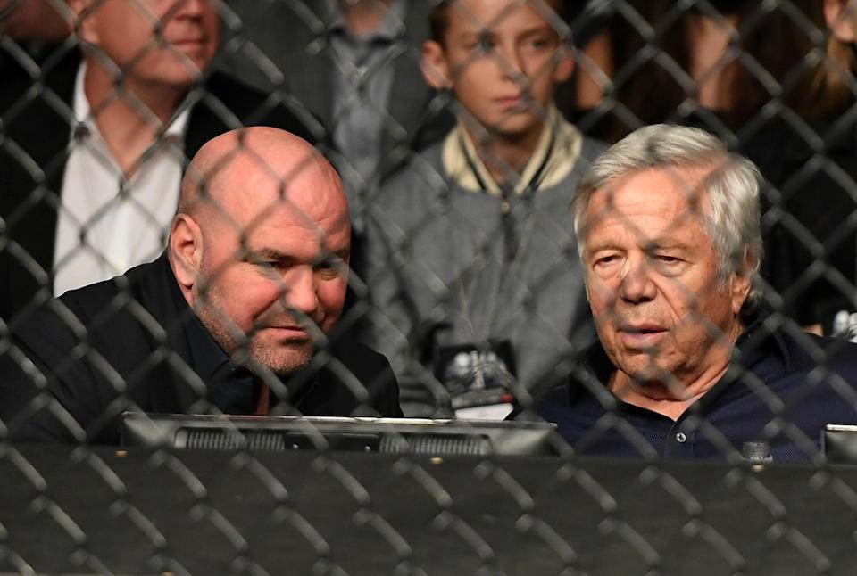 <p>New England Patriots owner Bob Kraft watches the featherweight bout between Miesha Tate of the United States and Raquel Pennington of the United States during the UFC 205 event at Madison Square Garden on November 12, 2016 in New York City. (Photo by Jeff Bottari/Zuffa LLC/Zuffa LLC via Getty Images) </p>