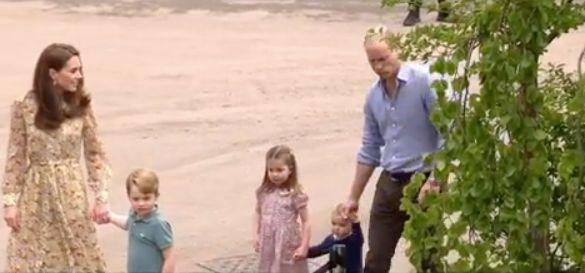 Princess Charlotte can be seen helping her one-year-old brother, Prince Louis, to walk in the above video. Photo: Kensington Palace