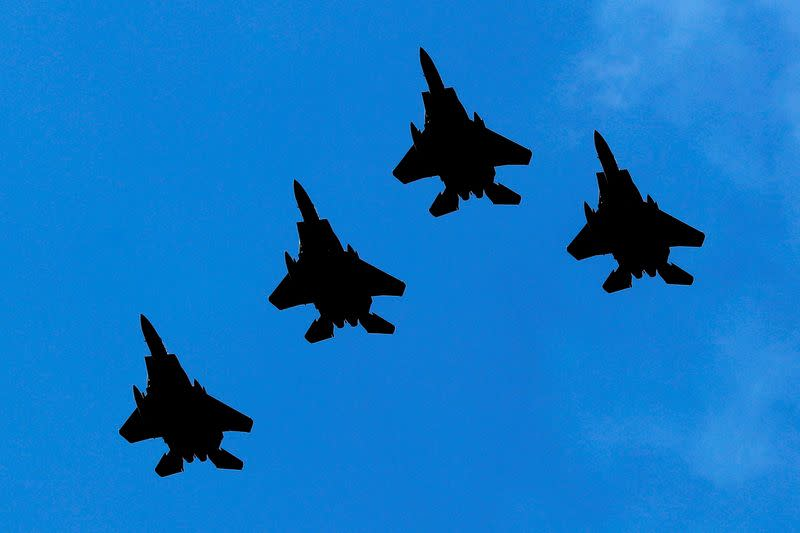 FILE PHOTO: The U.S. Air Force F-22 fighter jets fly in formation during 4th of July flyover over Hudson River past New York City and New Jersey