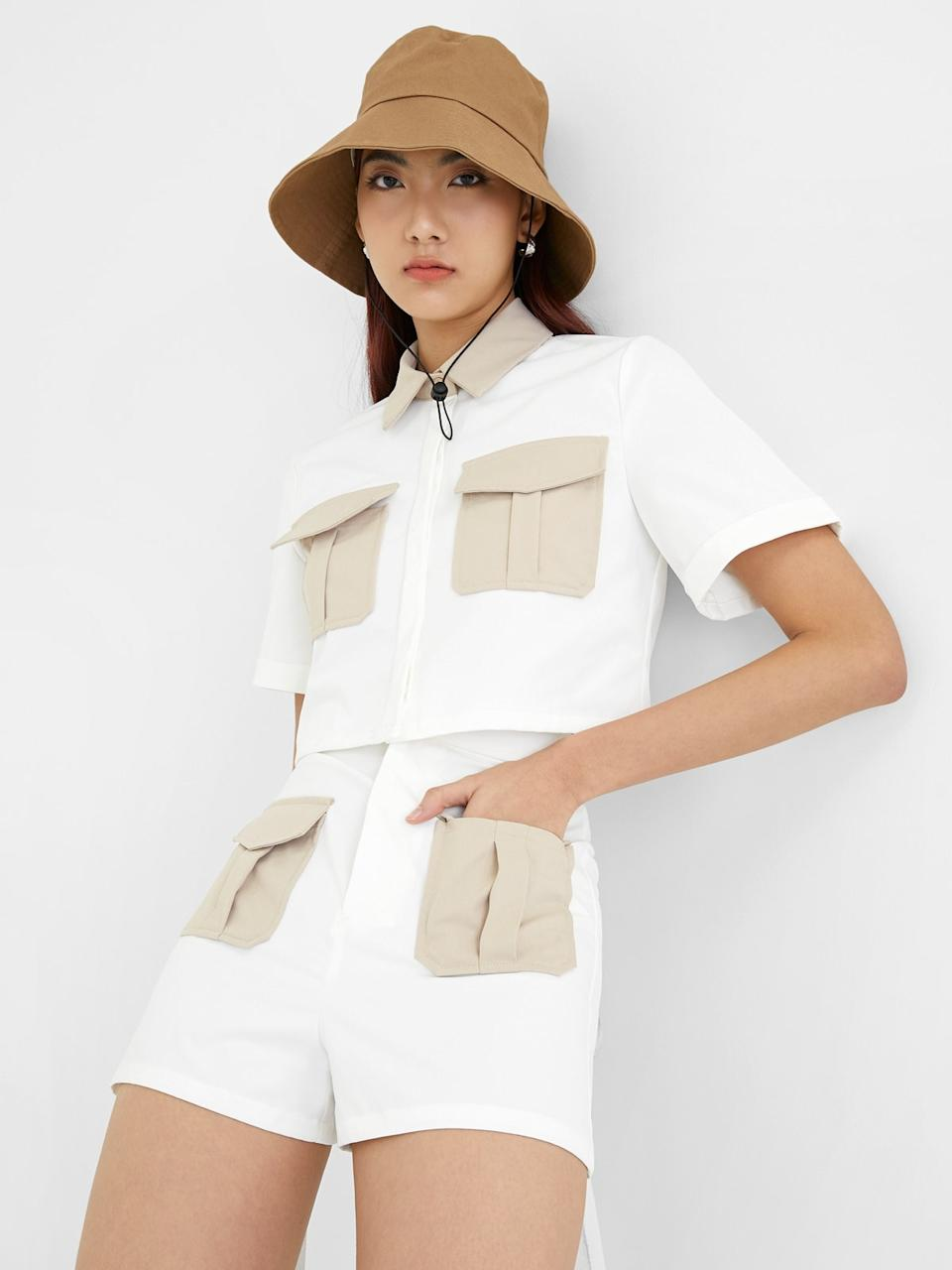 Contrast Twin Pocket Crop Top - White